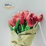 Veryhome Tulpen Künstliche Fake Real Touch Latex Blumen für Hochzeit Bouquet Arrangement Home Decor Pink 20Stück von Red 20pcs