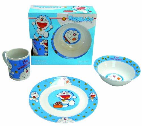 Doraemon - Set colazione porcellana (piatto, ciotola e coppa), blu (United Labels 810.667)