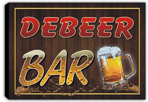 scw3-054538-debeer-name-home-bar-pub-beer-mugs-stretched-canvas-print-sign