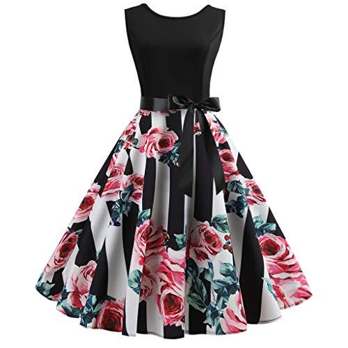 BOIYI Kleid, Frauen Vintage 50er Jahre Retro ärmellose O Neck Print Abend Party Prom Swing-Kleid Ladies Elegant Ballkleider Strandkleider(rot,S)