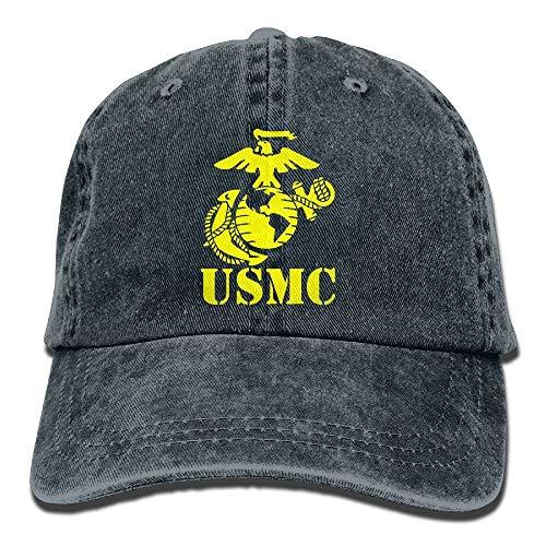 Hoswee Baseballmütze Hüte Kappe USMC Marine Corps Plain Adjustable Cowboy Cap Denim Hat for Women and Men -