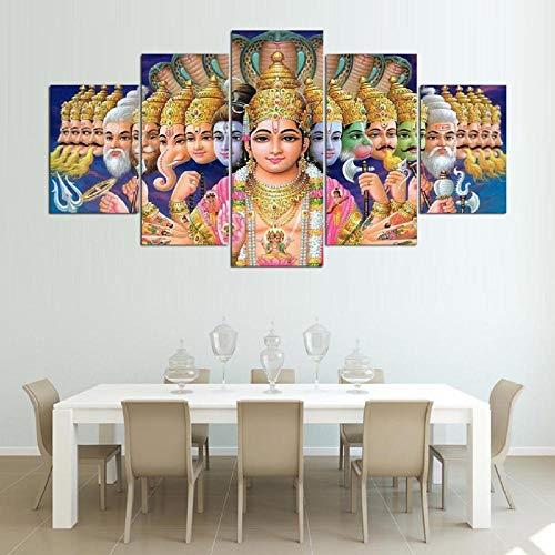 zszy 5 Stück Leinwand Wandkunst Mythologie Shiva Vishnu Gemälde Indien Gottheiten Ganesha Leinwand Bild Home Decor Wandkunst-40x60 40x80 40x100cm ohne Rahmen