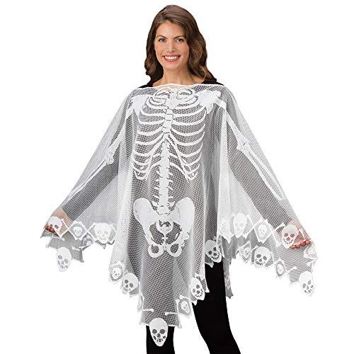 VICKY-HOHO Halloween Skelett Spitze gewebt Poncho komfortable geringes Gewicht Schiere Stoff Breat -
