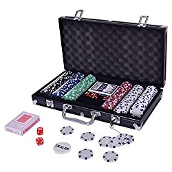 Costway 300 Piece Poker Set Texas Hold Em Chips Cards Dice Decks Casino Case Game (Black)