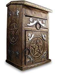 Standing Apothecary Pentagram Box/Wooden Jewellery Boxes/Hand Carved Wood Chests