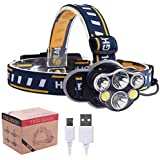 Phoneix USB Rechargeable LED Headlamp Headlight, Waterproof 8 Modes Operation 6 Head Bright Torch for Camping,Cycling,Outdoor Safety