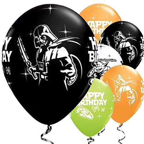 Wars Yoda Darth Vader Qualität Qualatex 28 cm Happy Birthday Joyeux Anniversaire ()