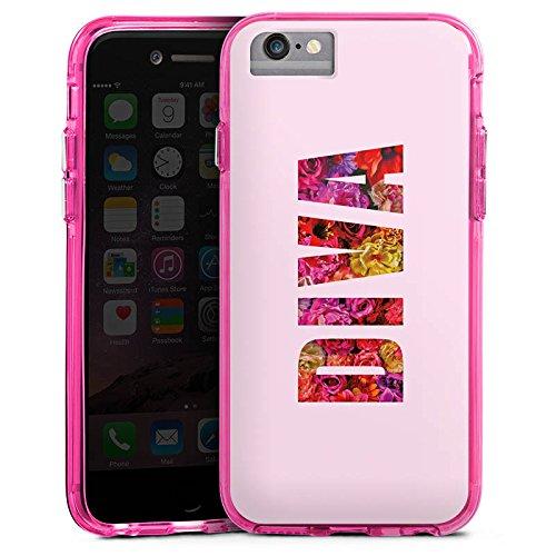 Apple iPhone 6 Bumper Hülle Bumper Case Glitzer Hülle Girl Sprüche Sayings Bumper Case transparent pink