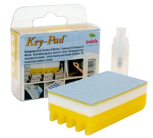 Indafa Key-Pad® Set, Reinigungsset per Tastatur - e Monitor (LCD/TFT) 1x Key-Pad®Schwamm klein con Reinigungslamellenund Mikrofasertuch 1x 5 ml Screener Liquid im Pumpspray