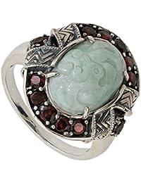 jade of Yes teryear Diseño Anillo para mujeres Plata de ley 925 oxidiert Vintage Jade Verde