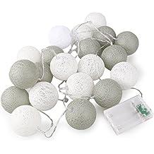 ROSENICE Cadena de luces para algodón bola 20 LED AA pilas para la decoración de fiesta de boda jardín