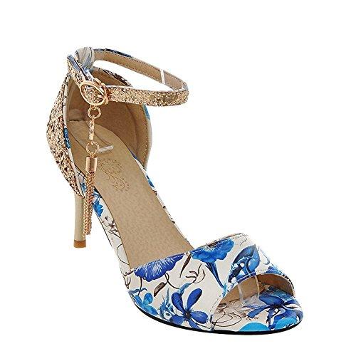 Mee Shoes Damen high heels Ankle strap Pailletten Pumps Blau