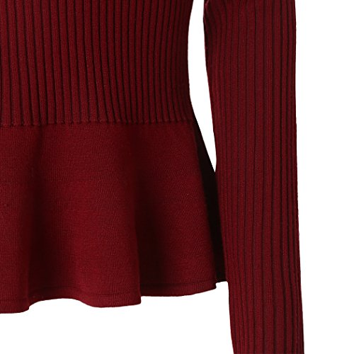 MIOIM®Femme Sweat-shirt Casual Solides Manches Longues pour Printemps Automne Vin Rouge