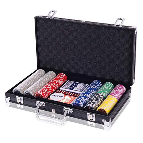 COSTWAY Pokerset Pokerkoffer 300 Laser-Chips Alukoffer inkl. Komplettset (Schwarz)
