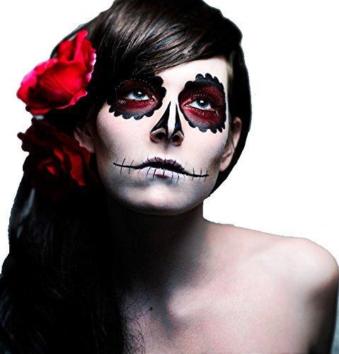 Halloween Garten Ghost Make-up Set–Set enthält: 1x Weiß Face Paint, 1x Face Paint Schwamm, 1x schwarz Lidschatten, 1x rot Lidschatten, 1x Face Paint Lippenstift Pinsel (dünn), 1x weiß, 1x schwarz Eyeliner