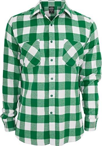 Urban Classics Herren Langarmshirt Bekleidung Checked Flanell Shirt White/Green