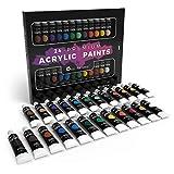 Juego de pintura acrílica de 24 piezas para principiantes, estudiantes o artistas. Perfecta mezcla de colores de calidad, versatilidad y flexibilidad. Bueno sobre papel, lienzo, madera y tela