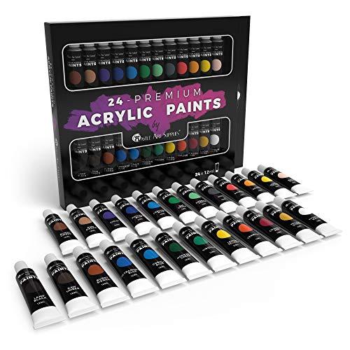 24pc Acrylfarbe Set für Anfänger, Studenten oder Künstler. Perfekte Mischung aus Qualität, Flexibilität und Vielseitigkeit. Kräftige Farben, gute Deckung auf Papier, Leinwand, Holz oder Stoff