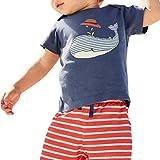 QinMM Camiseta y Pantalón Corto Animal Para Bebés Niñas y Niños, Verano Camisa de Manga Corta Tops de Playa (Azul Marino, 4 Años)