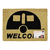 JVL Caravan Welcome Coir PVC Backed Entrance Door Mat, Rattan, 36 x 50 cm