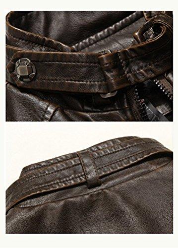 MatchLife Herren Lederjacke Zipper Bike Velvet Jacke Style1-Brun