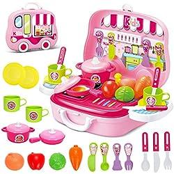 Set utensilios de Mini Cocina de Juguete Incluye Múltiples Accesorios Para Niños de 3 Años de Edad (Rosa)