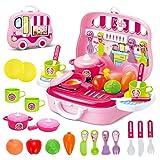 Rollenspiel Küche Spielzeug Kinder Kochen Lebensmittel Spielset für Kleinkind Mädchen 3 Jahre alt (Rosa)