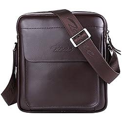 Zicac Bolso de cuero para hombre /Bolsos Maletín para hombre/ Bolso mensajero que Suficientemente grande para contener Libros / iPad (Marrón)