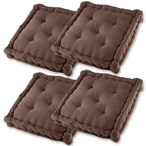 Gräfenstayn® set di 4 cuscini per sedia 40x40x9cm da interni ed esterno in 100% cotone - colori diversi - imbottitura spessa cuscino trapuntato/cuscino da pavimento (marrone)