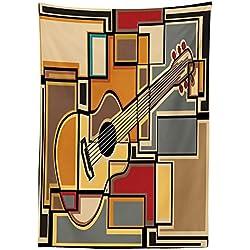 "Yeuss Mantel de música para Exteriores, diseño geométrico y Fractal con Forma Cuadrada, Fondo para Guitarra acústica, Decorativo, Lavable, para Picnic, Mantel,, 132 x 178 cm, 60"" x 120""(150 x 305 cm)"