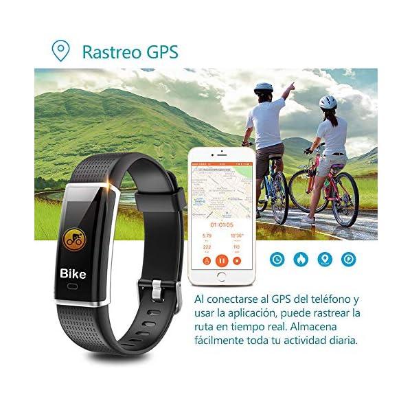 YAMAY Pulsera de Actividad Inteligente con Pulsómetro, Impermeable IP68 Smartwatch con 14 Moda Deportiva, Podómetro Pulsera Inteligente para Mujer Hombre Niño Reloj Inteligente Android y iOS Teléfono 2