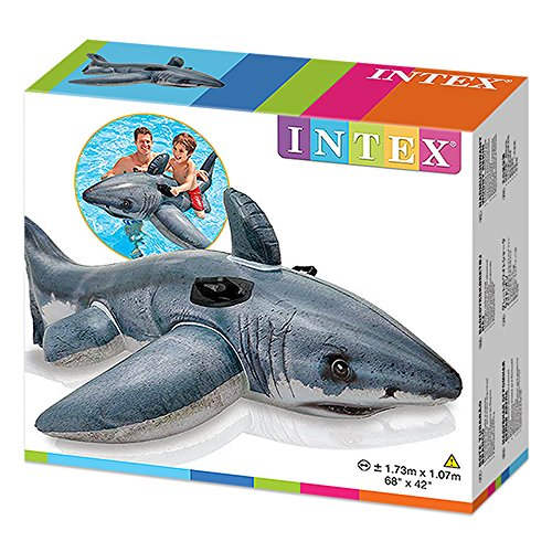 Intex Inflatable Great White Shark Rider Ride On Beach Toy Lilo Swim Pool Float #57525
