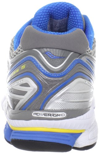 Saucony Mens Hurricane 15 Running Shoe,Silver/Blue/Yellow,10 M US Silver / Blue / Yellow