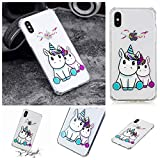 LA-Otter Coque iPhone XR Silicone TPU Gel Bumper Housse Etui Transparente avec Motif Antichoc Case Cover - Kawaii Licorne