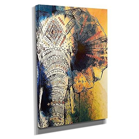 Acryl Elefant - Kunstdruck auf Leinwand (20x30 cm) zum Verschönern