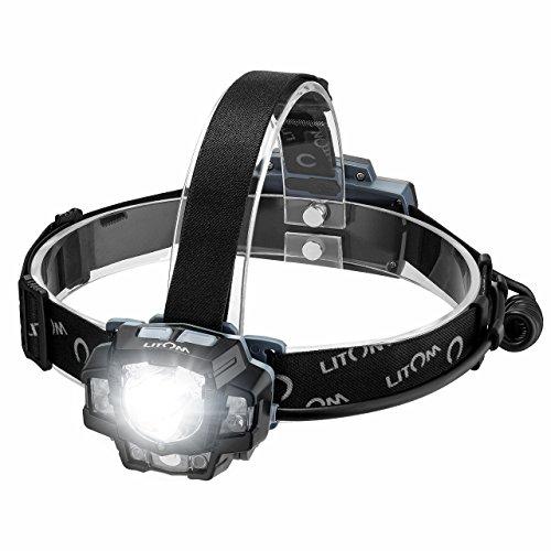 Litom Super Heller LED Stirnlampe, Gesten-Sensor Kopfleuchte Taschenlampe, Weiß/Rot/Grünes Licht, 11 Modi, USB Akku, ideal für Joggen, Camping, Wandern, Jagen, Sport im Freien LED Stirnlampe LED - Im Sport Freien