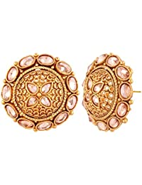 AccessHer Indian Traditional Antique Gold Rajwadi Kundan Stud Earrings