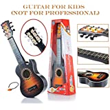 Flick In Guitar Toys For Kids Fully Functional With Pick|6 String Classical Brown Big Size Guitar Toy |Musical Acoustic Guitar With Adjustable Tunning Knob |Musical Instruments For Beginners Boys|High Quality Plastic Guitar Toy 21 Inch With Wood Finish Fo
