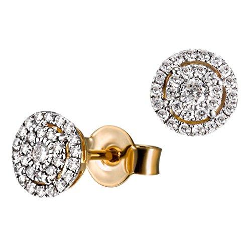 Goldmaid Damen-Ohrstecker Glamour 585 Gelbgold rhodiniert Diamant (0.32 ct) weiß Brillantschliff Ohrringe Schmuck (Weiß-diamant-ohrringe 14k)