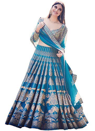 Generic Women\'s Davara Creation Silk Printed Lehenga Choli for Bridal Wear (DCS-147, Blue, Free Size)