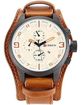 CURREN Herren Leder Quarzuhr Armbanduhr mit Kalender