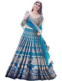 Davara Creation Blue Silk Printed Lehenga Choli For Bridal Wear