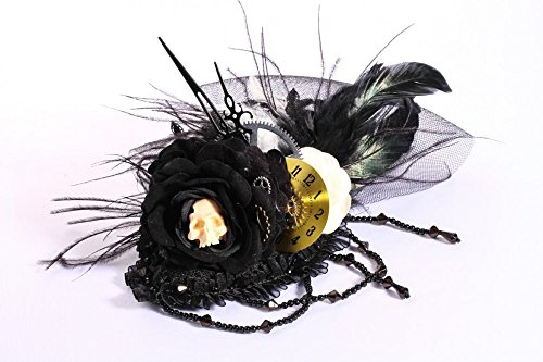 Edler Steam Punk-Tocado con plumas y calavera