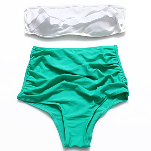 YONGYI Colore puro conservatore Presidente split bikini due kit billowy balze tergi il torace-Top lombo di hot springs costumi da bagno ,verde,l