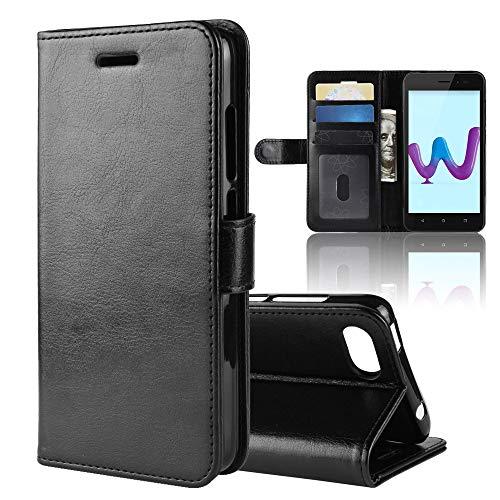 LAGUI Hülle Geeignet für Wiko Sunny 3, Schlichtes Aber Edles Brieftasche Lederhülle Mit Kartenfächern Fach und Magnetische Verschluss, Anti-Scratch, stoßfeste Handyhülle. schwarz