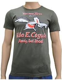 Looney Tunes Wille E. Coyote Kojote Marken T-Shirt großer Cartoon Frontprint olivgrün - M