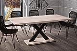 Esstisch Mila ausziehbar 130cm - 180cm San Remo Eiche hell Küchentisch Design Säulentisch