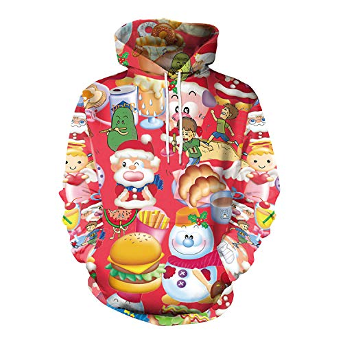 JXJ Unisex Christmas Hoodie, Cartoon 3D Digital Print Santa Claus Sweater Men Es Apparel Damen Personalisierte Sweatshirt ()
