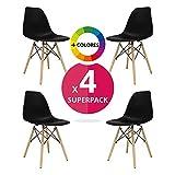 MASTERITEM Stuhl Bettbezug (Pack 4)–Tower One–Stuhl Nordic Skandinavien Inspiriert Stuhl Eames DSW Stuhl (wählen Sie Ihre Farbe) Schwarz
