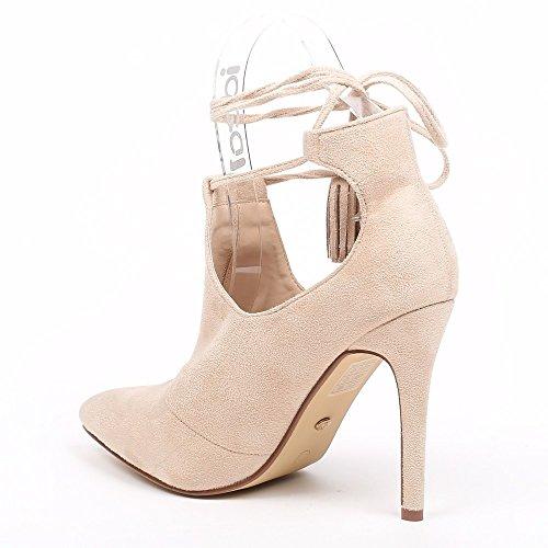 Ideal Shoes–Scarponcini a punta semi-ouvertes effetto camoscio Janane Beige